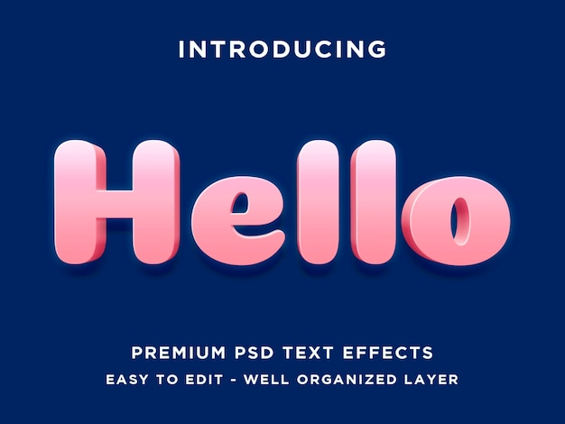 Hallo - 3d-teksteffect psd-sjabloon