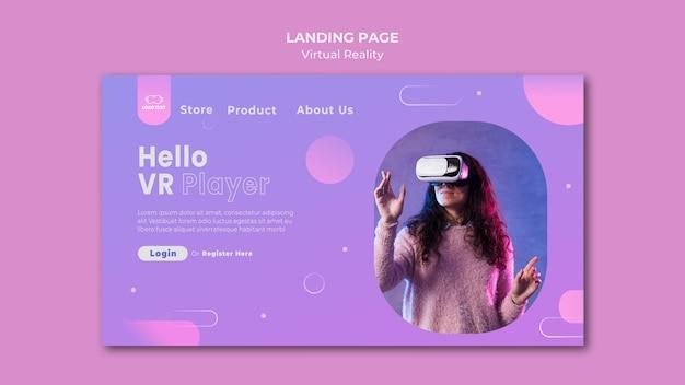 Hallo bestemmingspagina voor virtual reality-speler