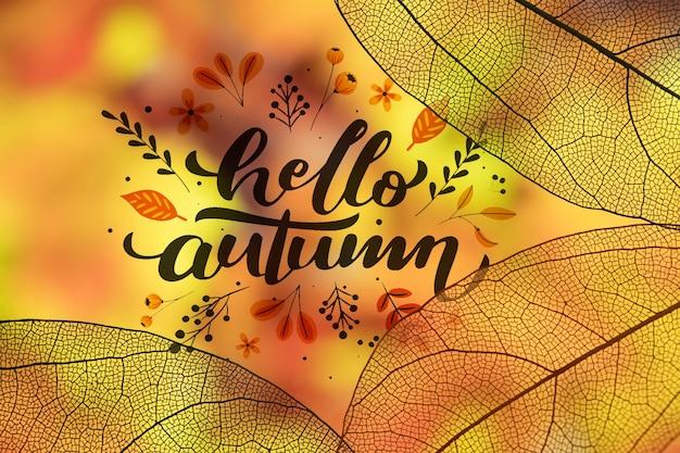 Hallo herfst belettering met doorschijnende bladeren