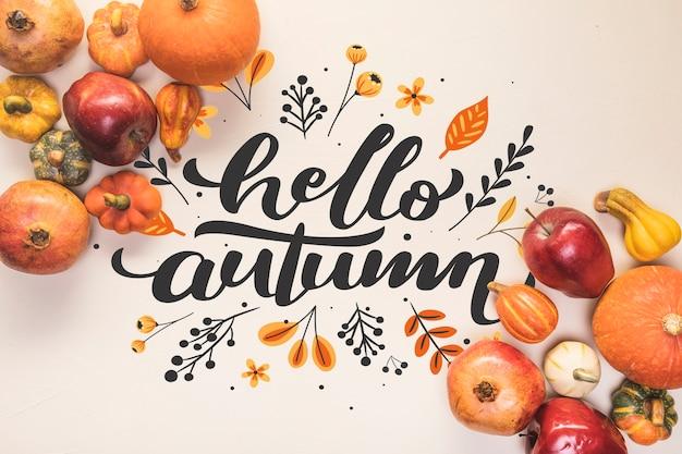 Hallo herfst belettering met herfst gezond voedsel