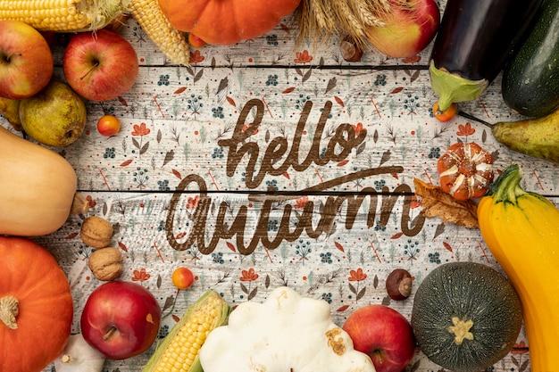 Hallo herfst groenten frame bovenaanzicht