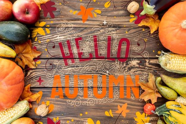 Hallo herfst groenten frame plat lag