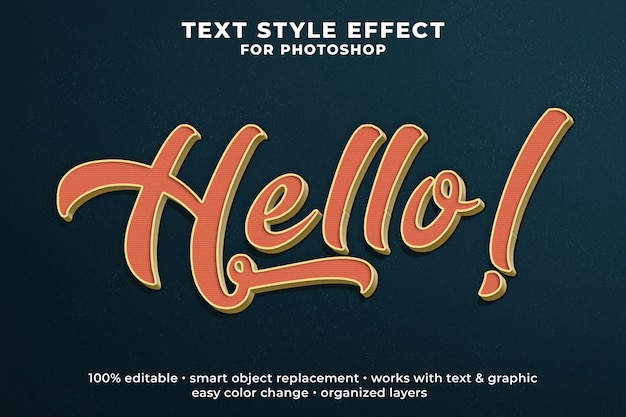 Hallo vintage 3d-tekststijleffect psd-sjabloon