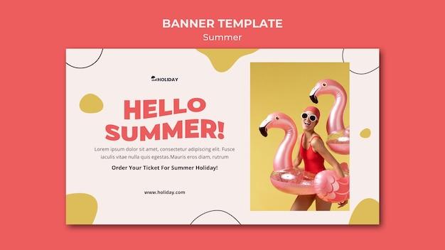 Hallo zomer bannersjabloon