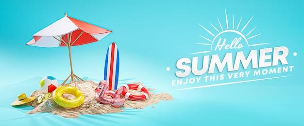 Hallo zomer ontwerp banner vakantie concept. strandparaplu blauwe achtergrond 3d-rendering