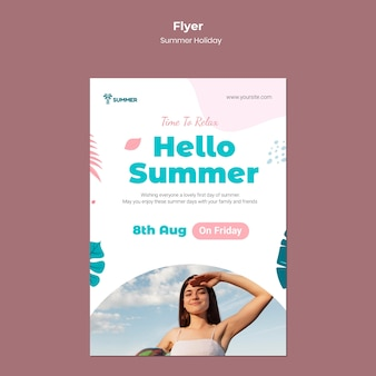 Hallo zomervakantie folder sjabloon