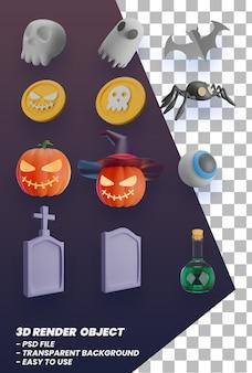Halloween 3d-elementen instellen premium psd