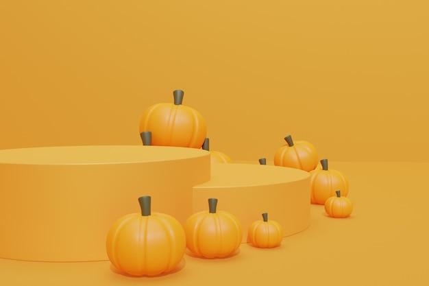 Halloween-achtergrond met 3d podium
