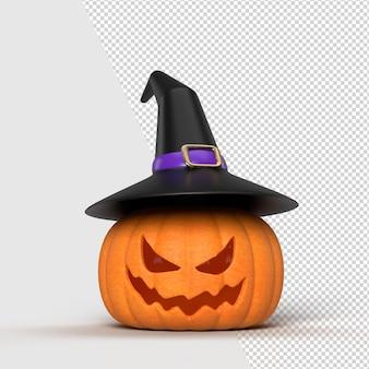 Halloween-achtergrondmodel met pompoenen en heksenhoed. halloween concept mockup