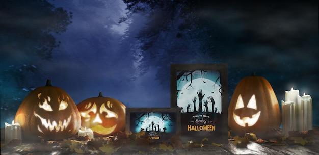Halloween arrangement met enge pompoenen en ingelijste horror posters