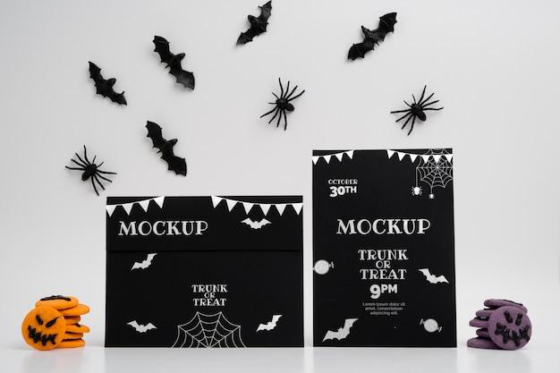 Halloween arrangement met mock-up kaarten