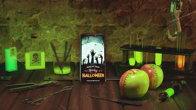Halloween arrangement met smartphone