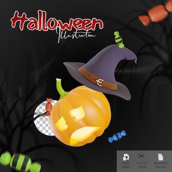 Halloween-banner met pompoenhoed en snoep