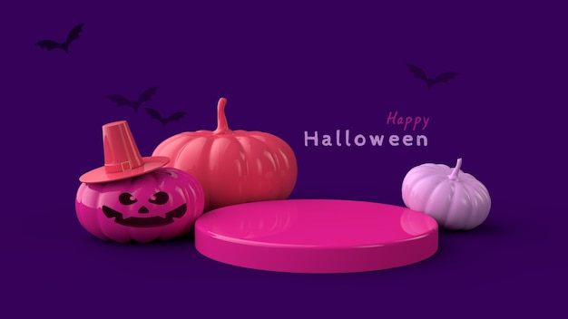 Halloween-banner psd-sjabloon staan met een enge pompoen en vleermuizen 3d render