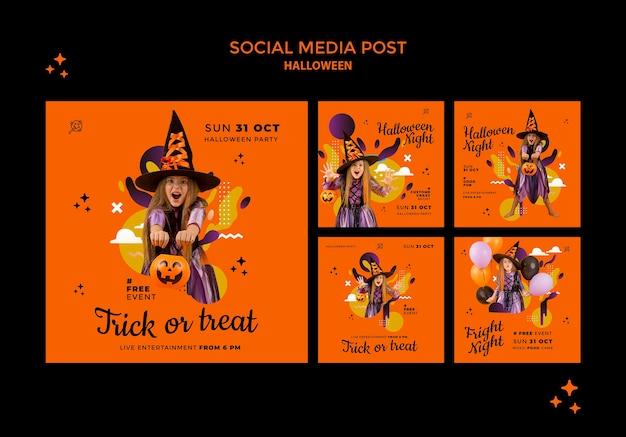 Halloween-berichten op sociale media