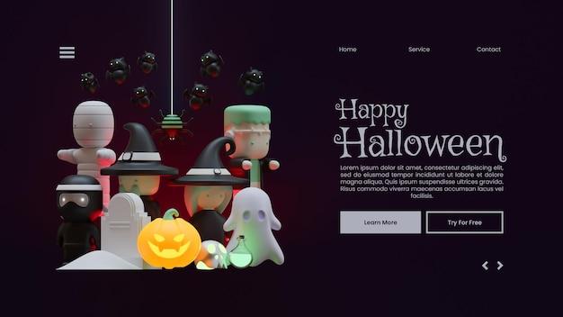 Halloween-bestemmingspaginasjabloon met 3d-renderingillustratiesamenstelling