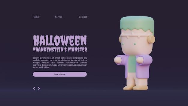 Halloween-bestemmingspaginasjabloon met frankensteins-monster 3d-renderingillustratie