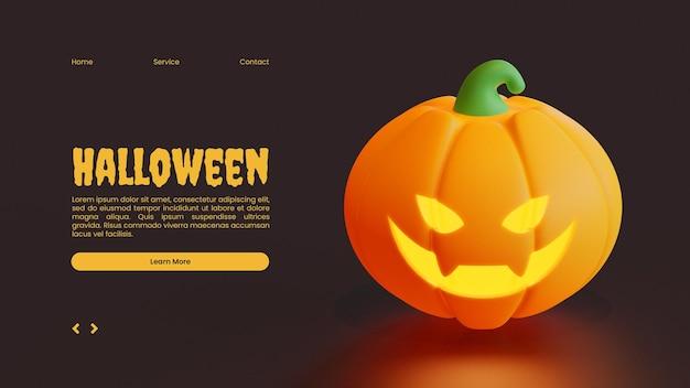 Halloween-bestemmingspaginasjabloon met gesneden pompoen 3d-renderingillustratie