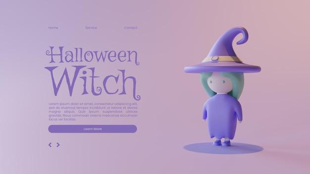 Halloween-bestemmingspaginasjabloon met heks 3d-renderingillustratie