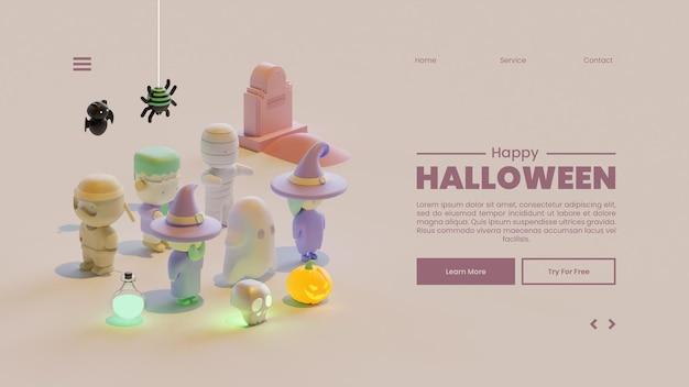 Halloween-bestemmingspaginasjabloon met isometrische 3d-renderingsamenstelling