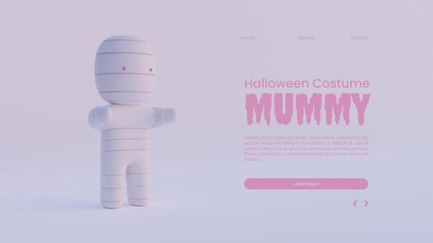 Halloween-bestemmingspaginasjabloon met mummie 3d-renderingillustratie