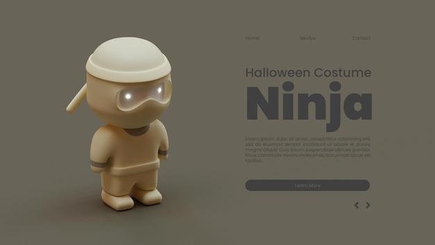 Halloween-bestemmingspaginasjabloon met ninja 3d-renderingillustratie