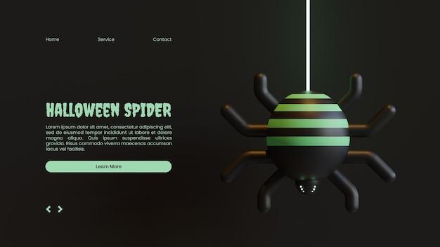 Halloween-bestemmingspaginasjabloon met spin 3d-renderingillustratie