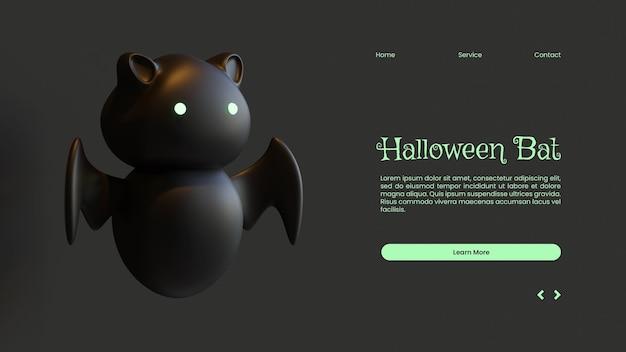 Halloween-bestemmingspaginasjabloon met vleermuis 3d-renderingillustratie