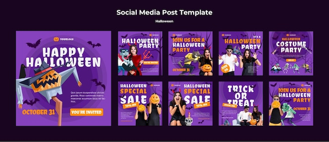 Halloween concept sociale media post sjabloon