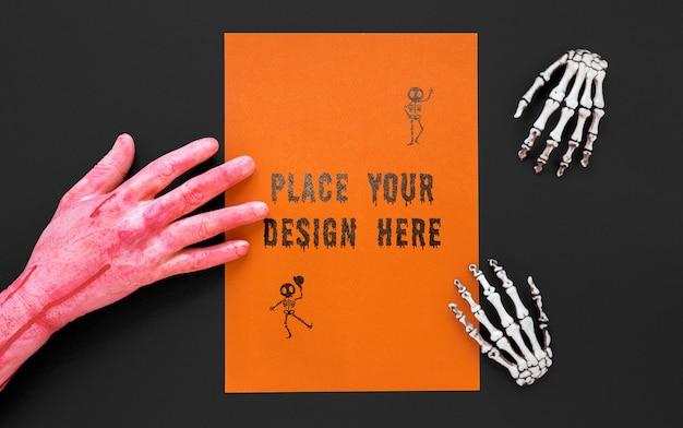 Halloween-concept van de close-up enge hand