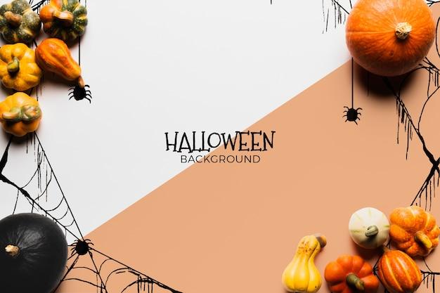 Halloween-conceptenachtergrond met pompoenen