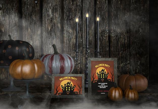 Halloween-feest in het spookhuismodel en pompoenen