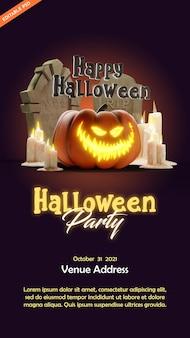 Halloween-feestposter met illustratie in 3d-stijl