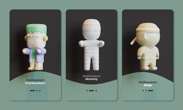 Halloween-gebruikersinterfacesjabloon met frankenstein-mummie en ninja 3d-rendering