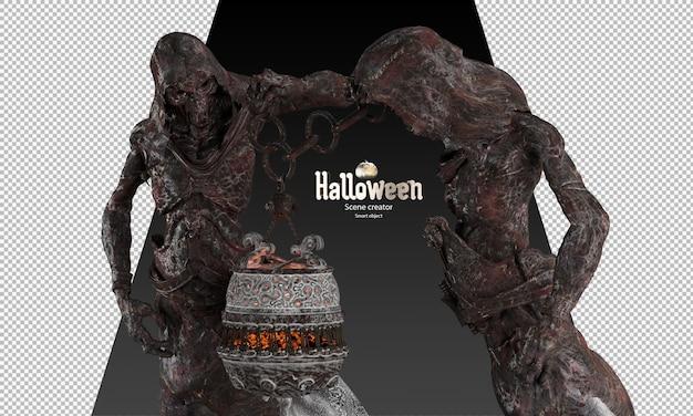 Halloween grim reaper karakter holding fantasie potion pot 3d render spook standbeeld
