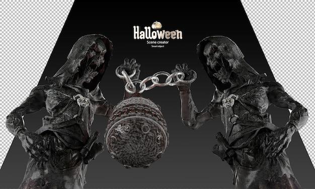 Halloween grim reaper karakter vasthouden cirkel ketting en fantasie drankje pot 3d render spook standbeeld