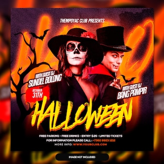 Halloween horror nacht feest flyer social media post