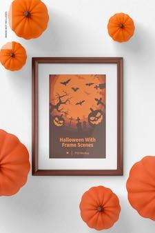 Halloween con maqueta de escena de marco, vista superior
