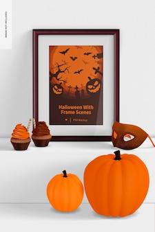 Halloween met frame scene mockup, op surface