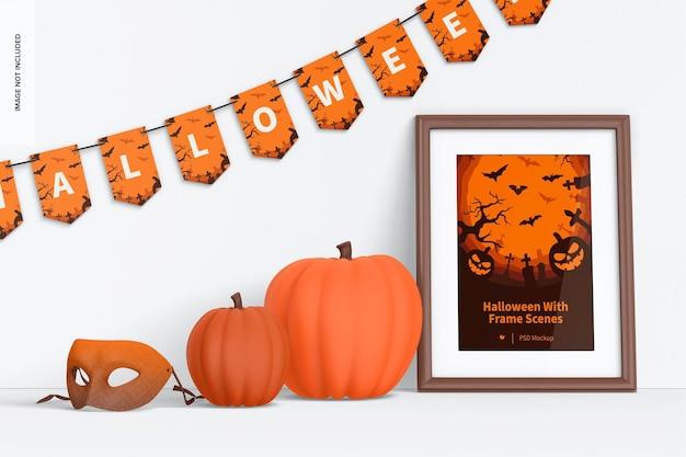 Halloween met frame scene mockup
