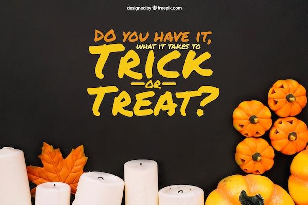 Halloween mockup met kaarsen en pompoenen