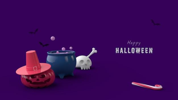 Halloween nacht banner psd-sjabloon 3d render