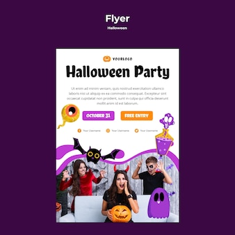 Halloween party flyer sjabloon stijl