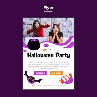 Halloween party flyer sjabloonontwerp