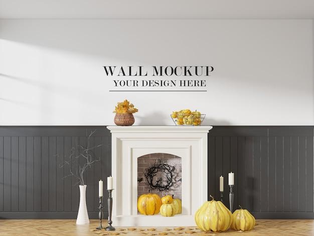 Halloween party interieur muur mockup