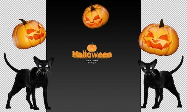 Halloween-pompoen en zwarte kat