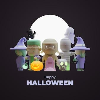 Halloween-postsjabloon voor sociale media met 3d-renderingillustratie