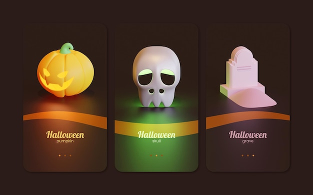 Halloween-sjabloon voor gebruikersinterface voor mobiele telefoons met 3d-renderingillustratie