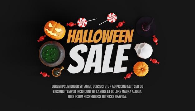 Halloween speciale verkoopbanner met 3d pompoen