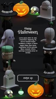 Halloween-verhaalsjabloon voor sociale media met 3d-renderingillustratie